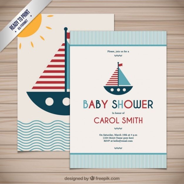 Baby shower card in nautical style vector free download baby shower card in nautical style free vector stopboris Gallery