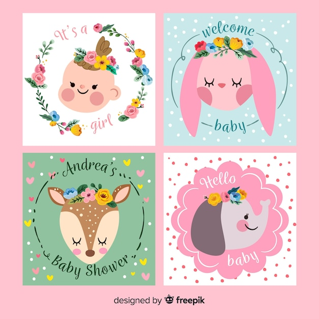 Baby shower card invitation collection Free Vector