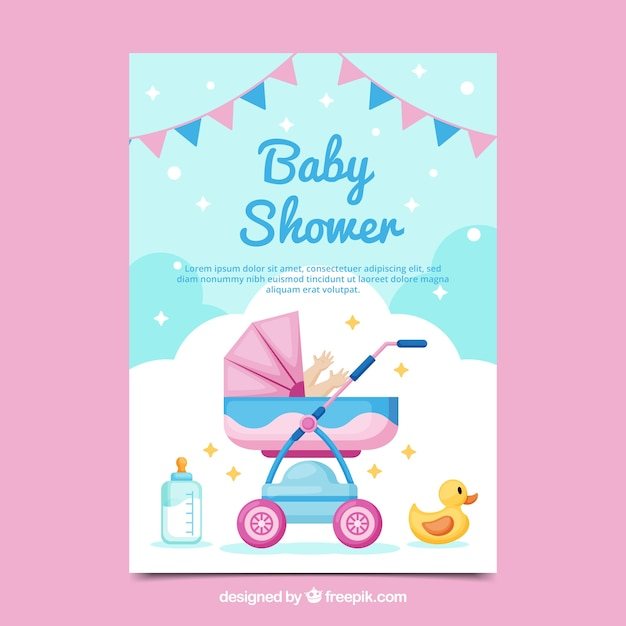 Baby shower card invitation in flat style Free Vector