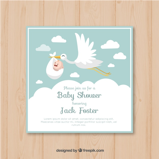 Baby shower card invitation vector free download baby shower card invitation free vector stopboris Images