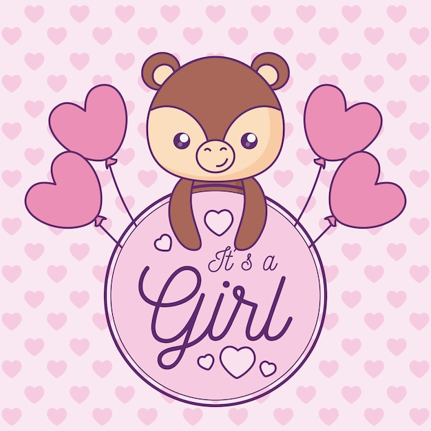 Baby shower card it is a girl with cute bear Premium Vector