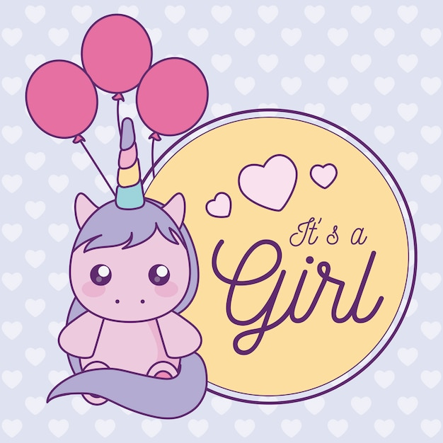 Baby shower card it is a girl with cute unicorn Premium Vector