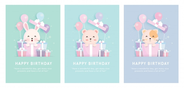 Baby shower card , set of birthday greeting template cards   with rabbit , cat and bear standing in gift boxes in paper cut style. Premium Vector