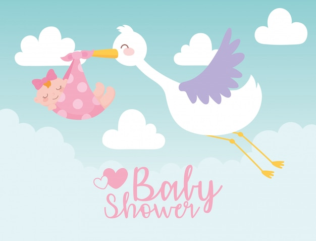 Baby shower card, stork carrying little girl in blanket, welcome newborn celebration card Premium Vector