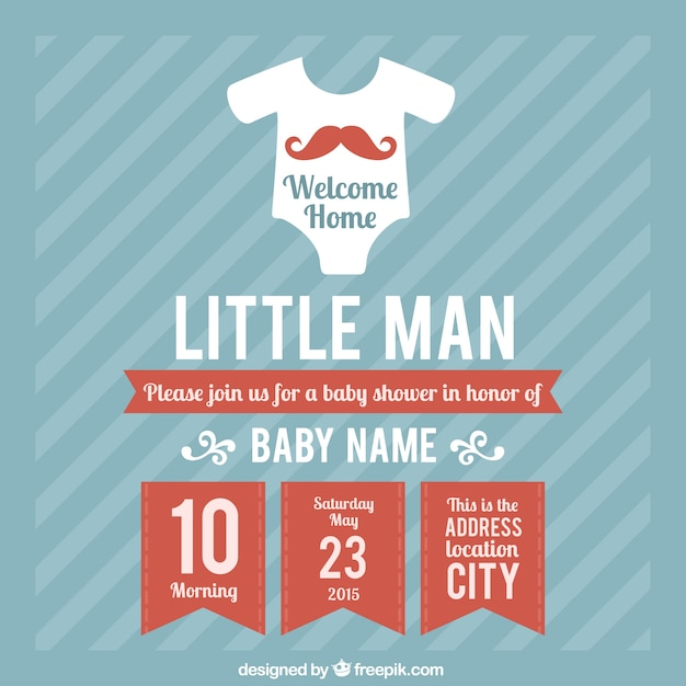 Baby Shower Card Template For Boy Vector Free Download