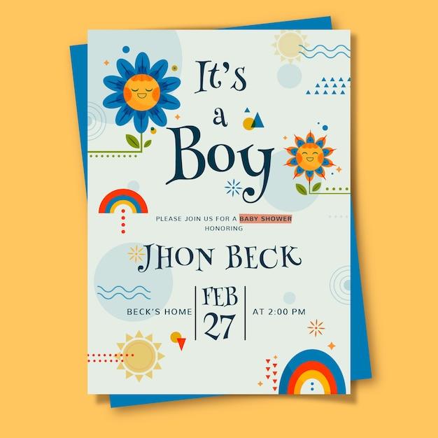 イラストの男の子のためのベビーシャワーカードテンプレート 無料ベクター