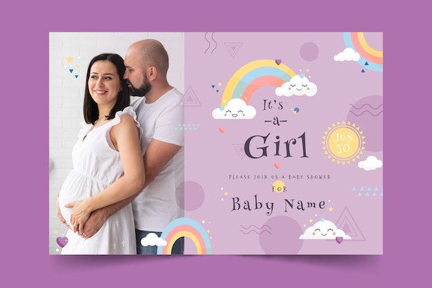Baby shower card template for girl with photo Free Vector
