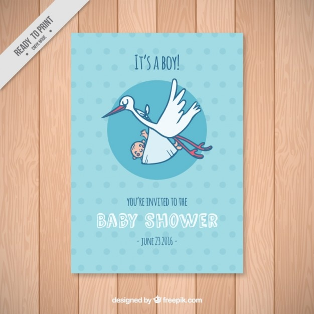 baby shower card template with a stork vector free download