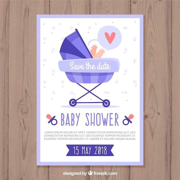 Baby shower card template with buggy Free Vector