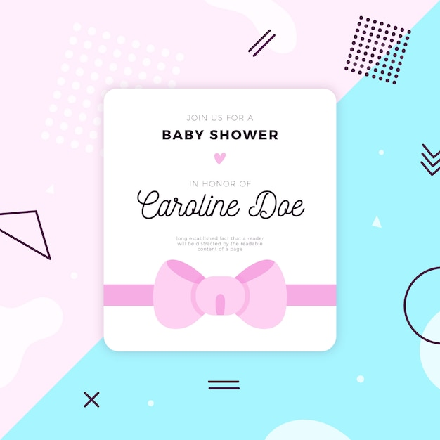 Baby shower card template Free Vector