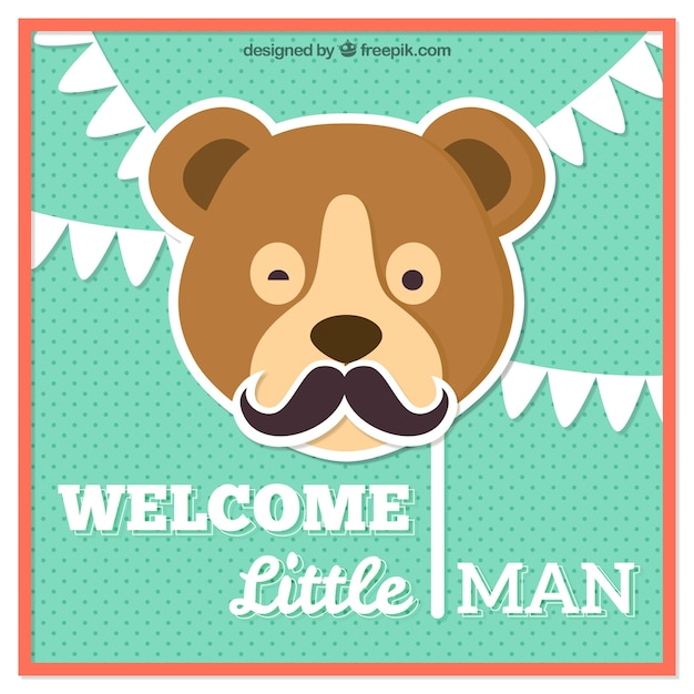 Baby shower card with a bear