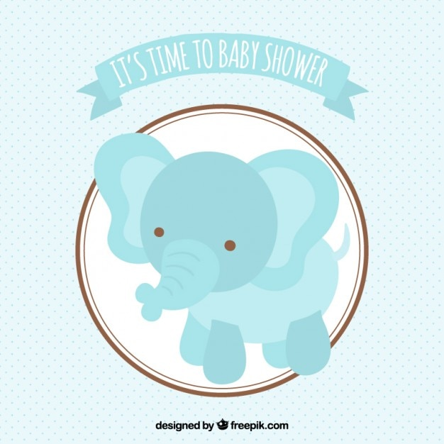 Vector Elephant Baby Shower ~ Baby shower card with a blue elephant vector free download