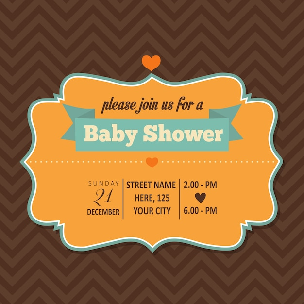 Baby shower card with a frame Free Vector