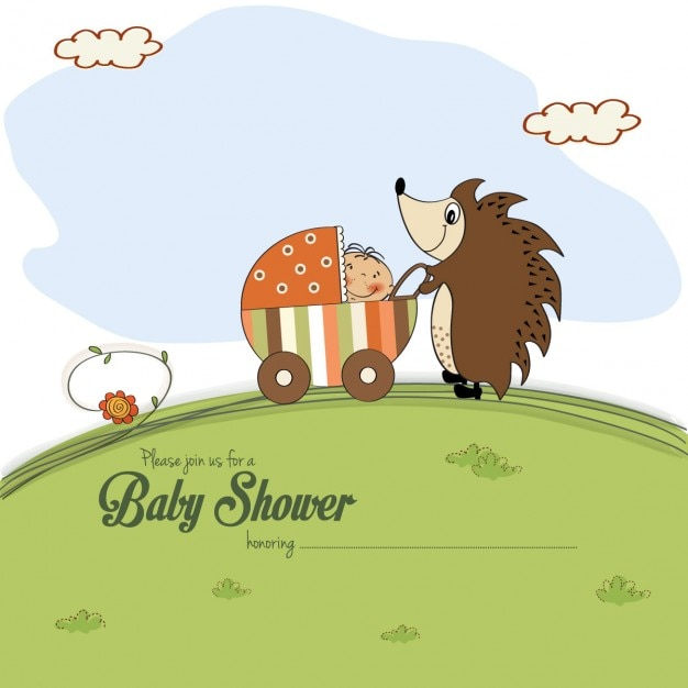 Baby shower card with a hedgehog that pushes a\ stroller with baby
