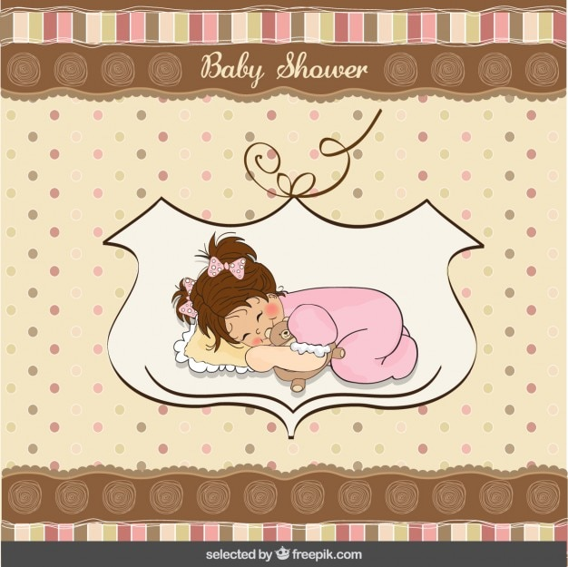 Baby shower card with a lovely sleepy\ baby