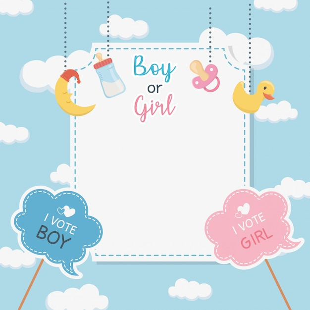 Baby shower card with accessories hanging Free Vector