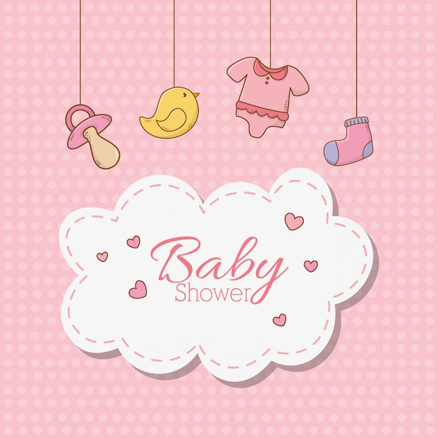 Baby shower card with accessories hanging Premium Vector