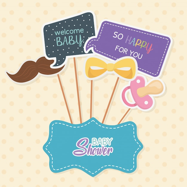 Baby shower card with accossories and messages in stick Free Vector