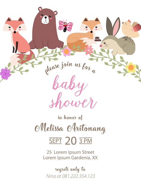 Baby shower card with adorable animals Premium Vector