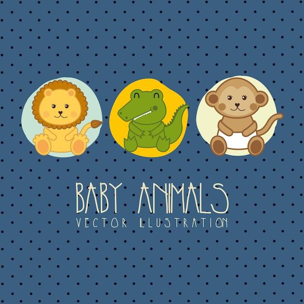 赤ちゃんの動物のベクトル図とベビーシャワーカード Premiumベクター