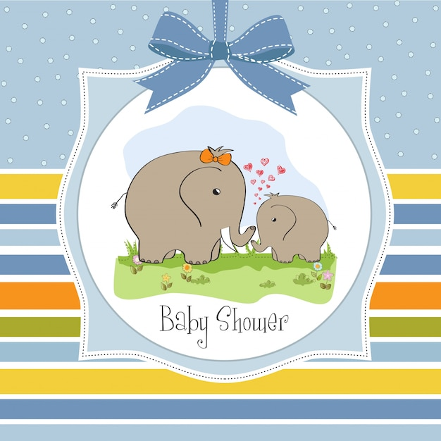Baby shower card with baby elephant and his mother Free Vector