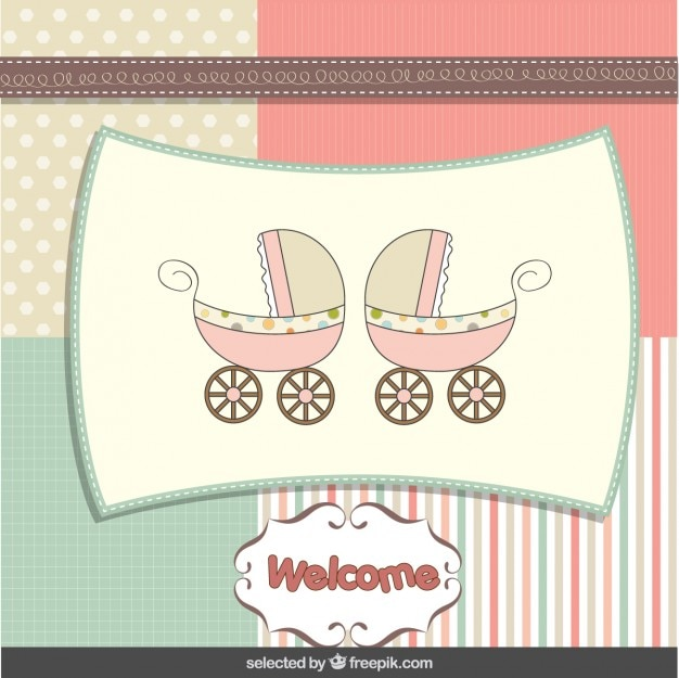 Baby shower card with baby strollers