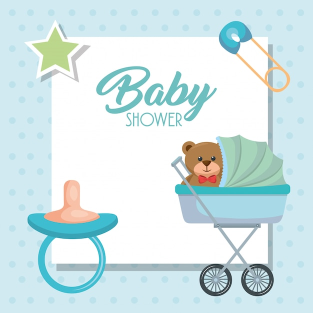 Baby shower card with bear teddy in cart Free Vector
