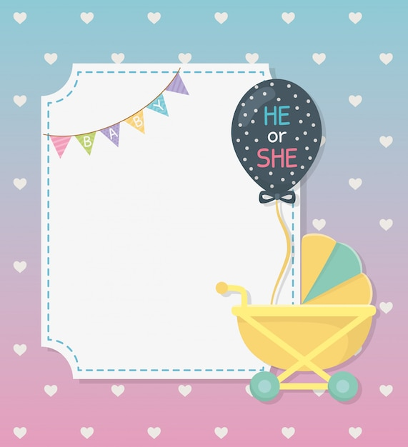 Baby shower card with cart and balloon helium Free Vector