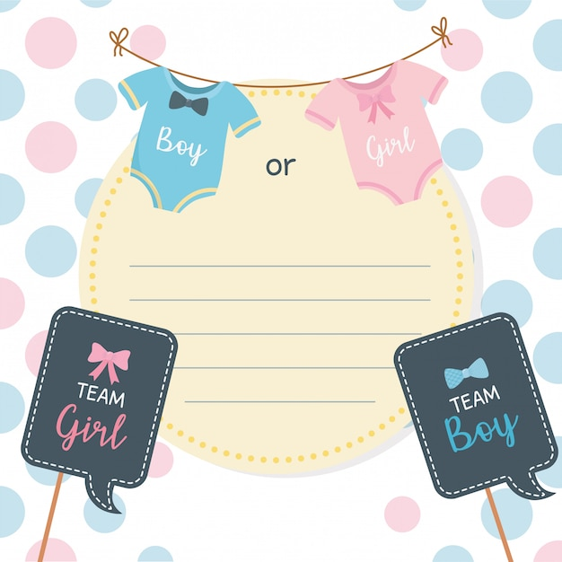 Baby shower card with clothes hanging Free Vector