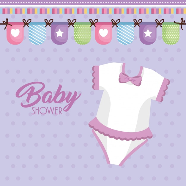 Baby shower card with clothes Free Vector