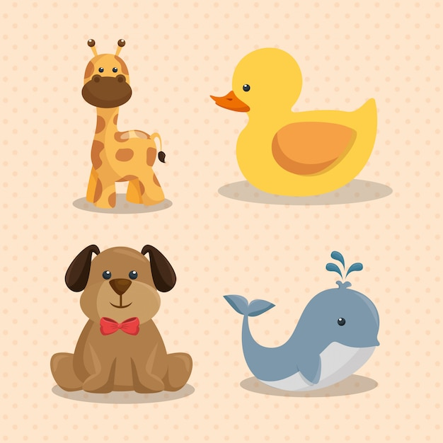 Baby shower card with cute animals Free Vector