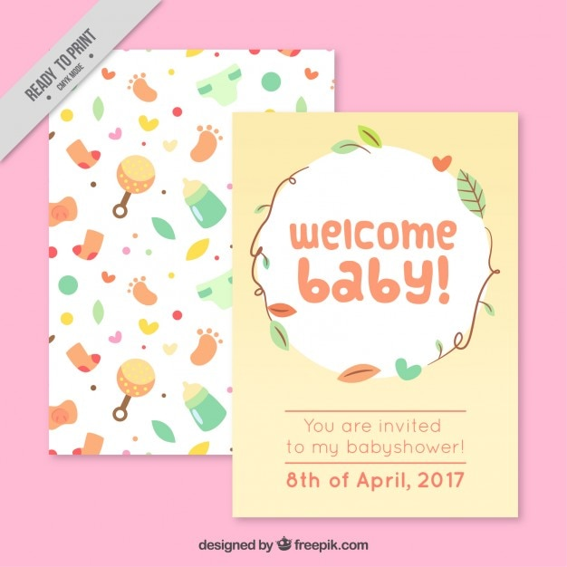 Baby shower card with cute baby elements