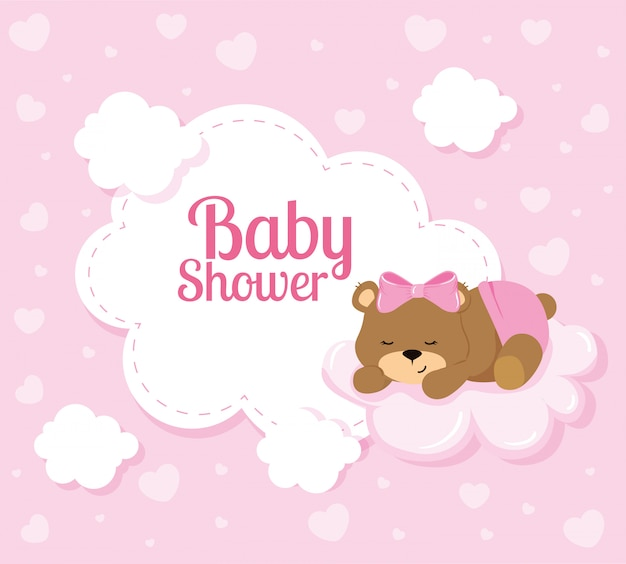 Baby shower card with cute bear and clouds Premium Vector