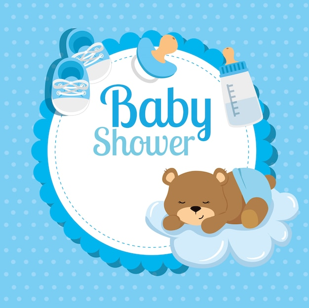 Baby shower card with cute bear and decoration Premium Vector