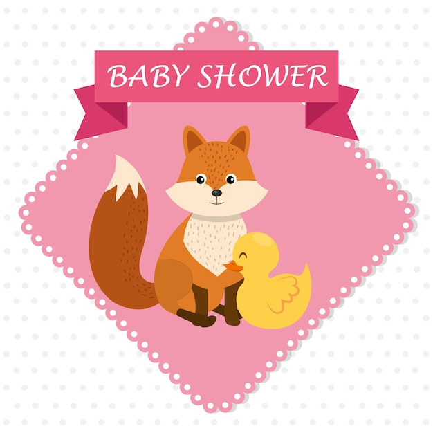 Baby shower card with cute fox and duck Premium Vector