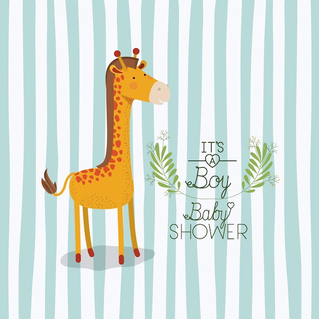 Baby shower card with cute jiraffe Premium Vector