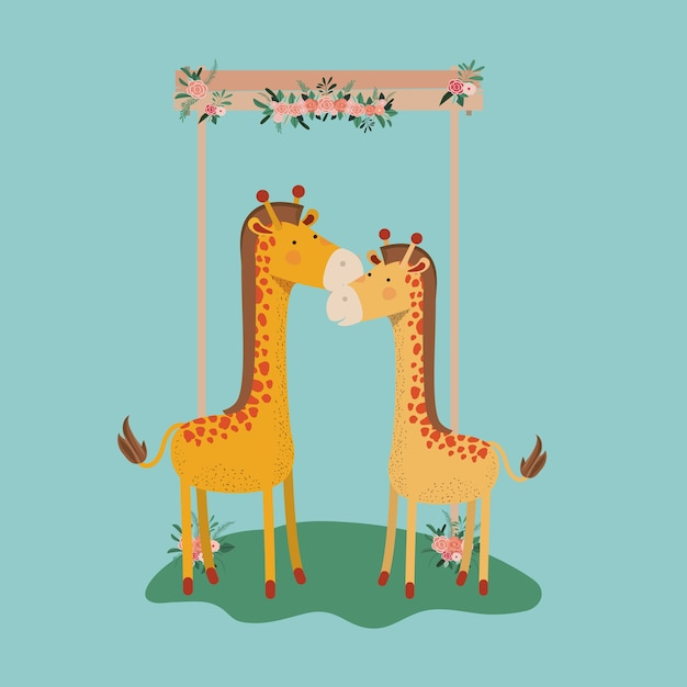 Baby shower card with cute jiraffes couple Premium Vector