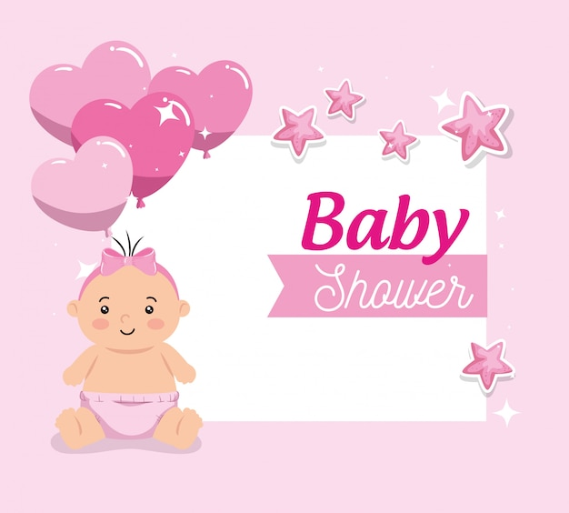 Baby shower card with cute little girl and decoration Premium Vector