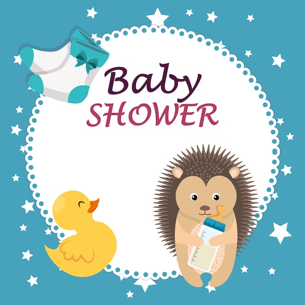 Baby shower card with cute porcupine and duck Premium Vector