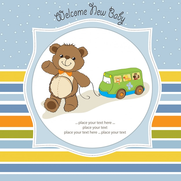 Baby shower card with cute teddy bear and bus toy Premium Vector