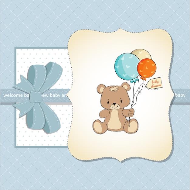 Baby shower card with cute teddy bear Premium Vector