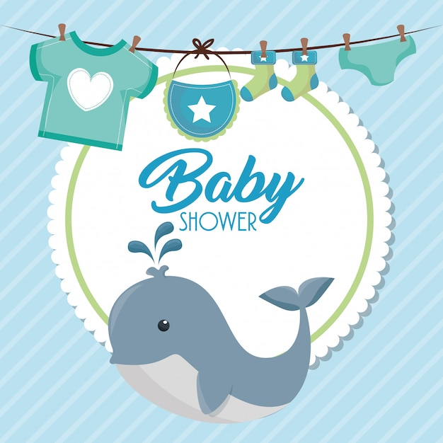 Baby shower card with cute whale Free Vector