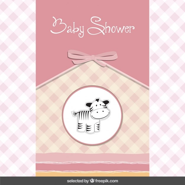 Baby Shower Card Vector ~ Baby shower card with cute zebra vector free download