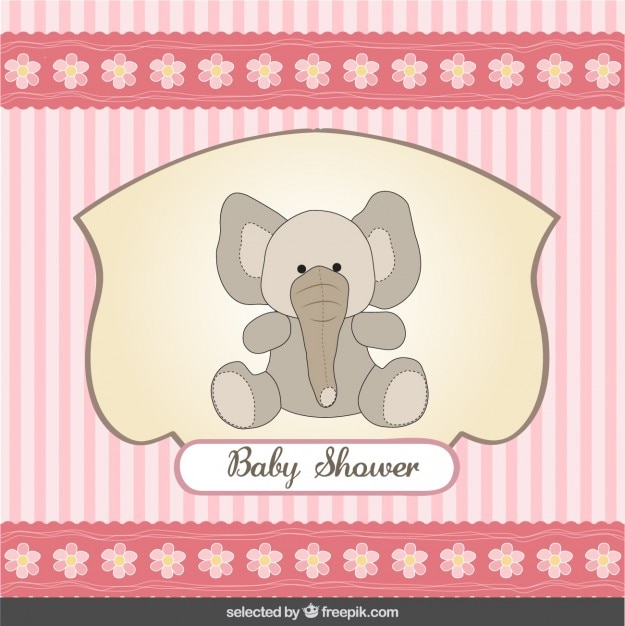 코끼리와 줄무늬 배경 베이비 샤워 카드 무료 벡터