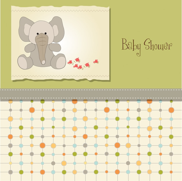 Baby shower card with elephant Premium Vector