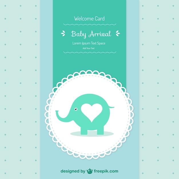 Doccia baby card con un elefante Vettore gratuito