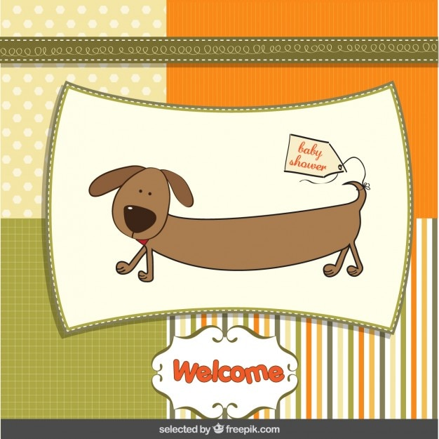 Baby shower card with funny dog in scrapbook\ style