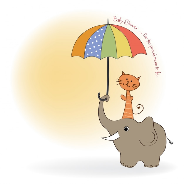 Baby shower card with funny elephant and little\ cat under umbrella