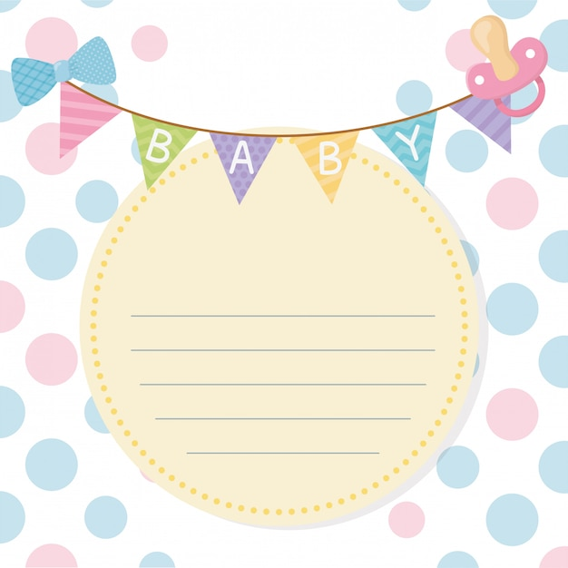 Baby shower card with garlands hanging Free Vector