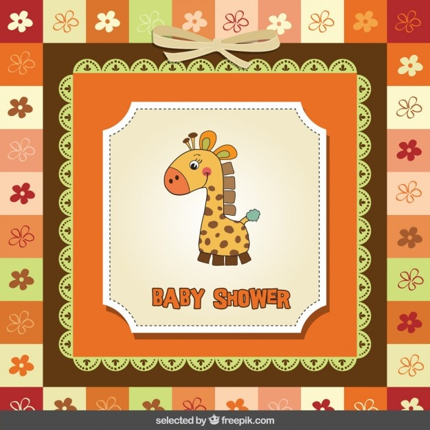 Baby shower card with giraffe